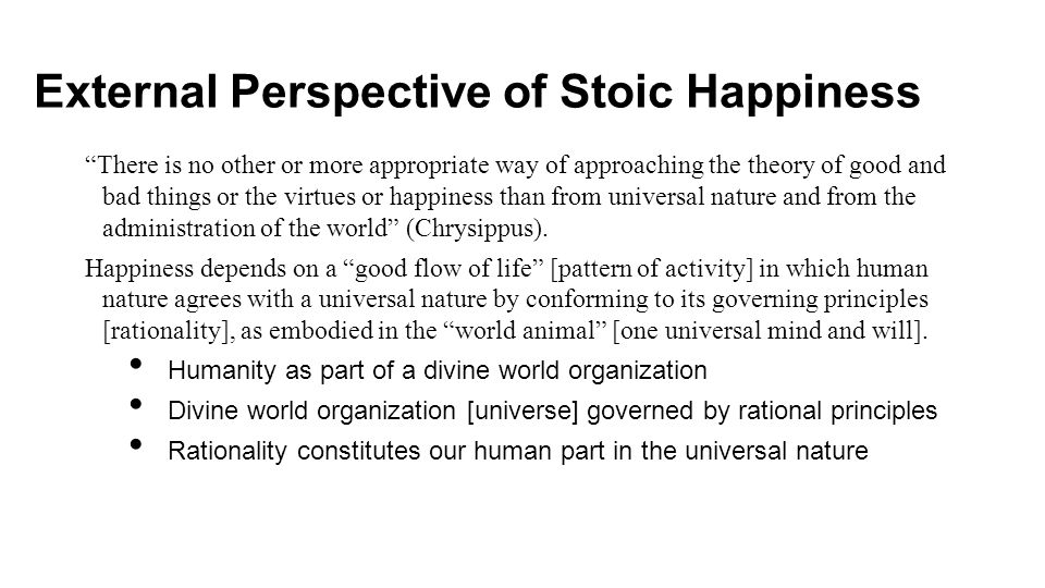 External Perspective of Stoic Happiness