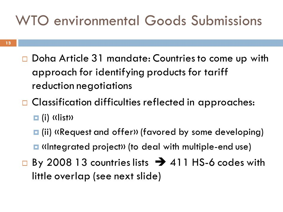 WTO environmental Goods Submissions