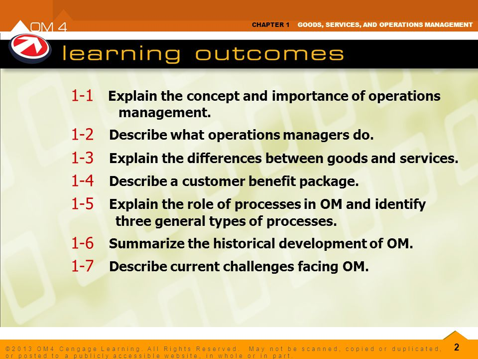 1-1 Explain the concept and importance of operations management.