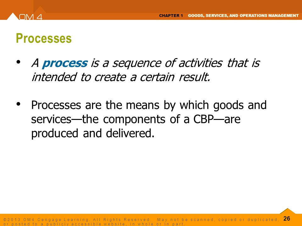 Processes A process is a sequence of activities that is intended to create a certain result.