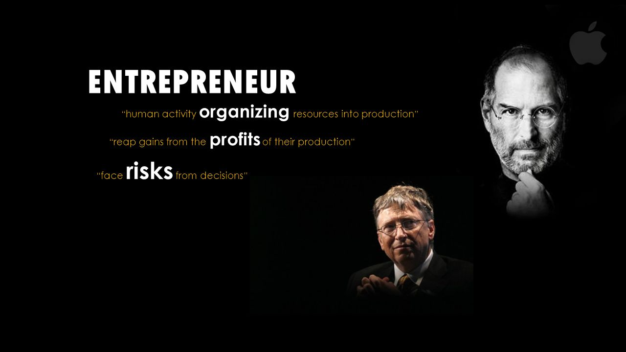 ENTREPRENEUR human activity organizing resources into production