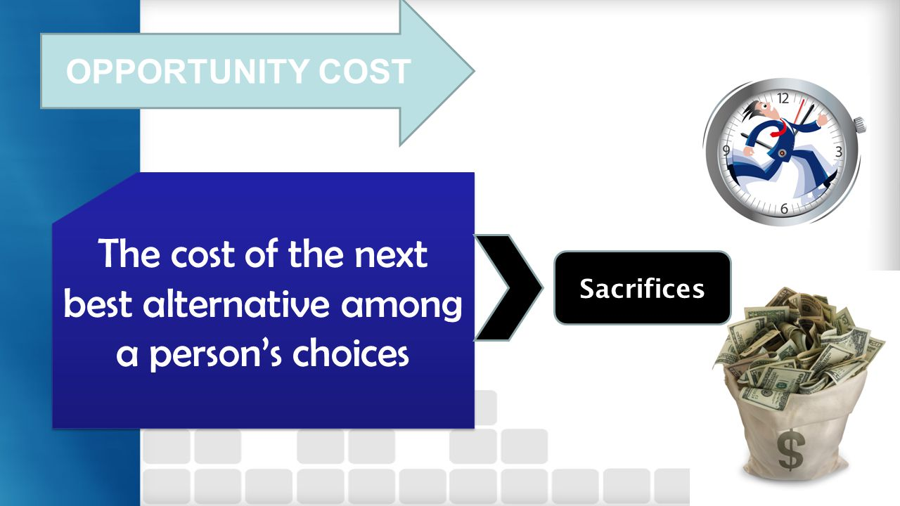 The cost of the next best alternative among a person's choices