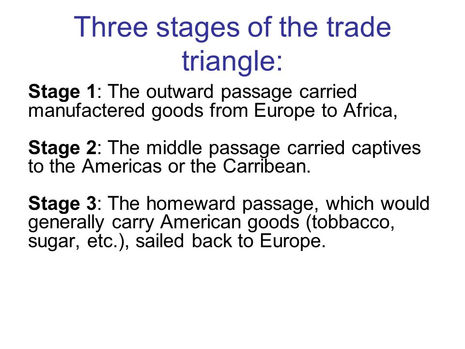 Three stages of the trade triangle: