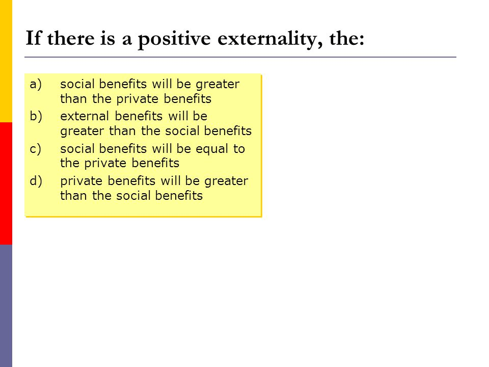 If there is a positive externality, the: