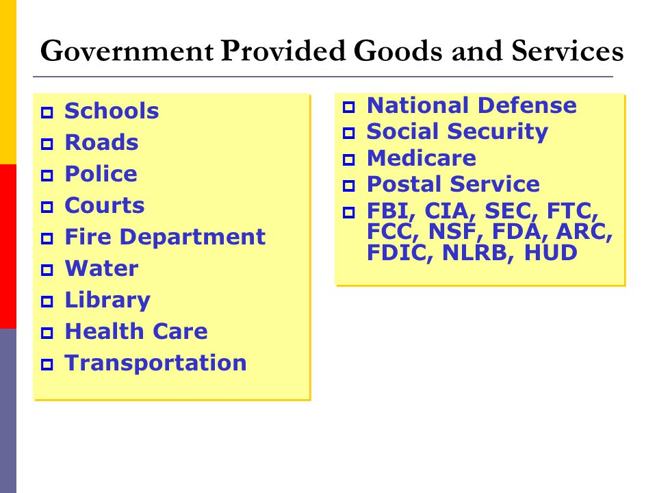 Government Provided Goods and Services