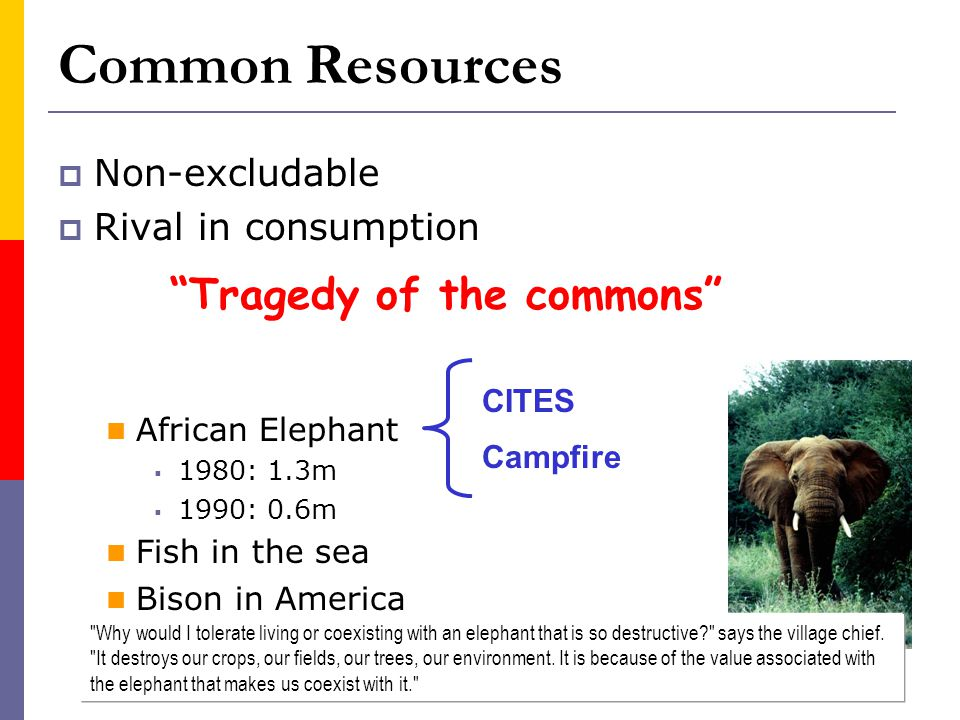 Common Resources Tragedy of the commons Non-excludable