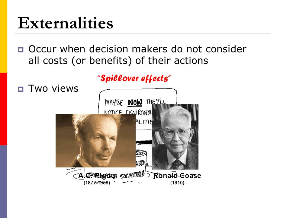 Externalities Occur when decision makers do not consider all costs (or benefits) of their actions. Two views.