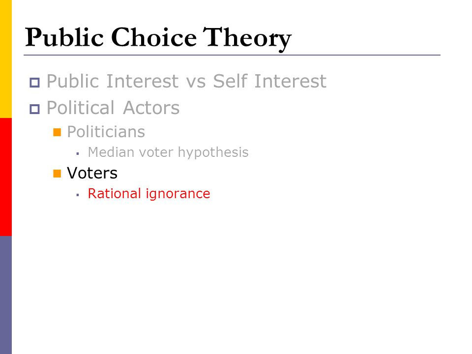 Public Choice Theory Public Interest vs Self Interest Political Actors