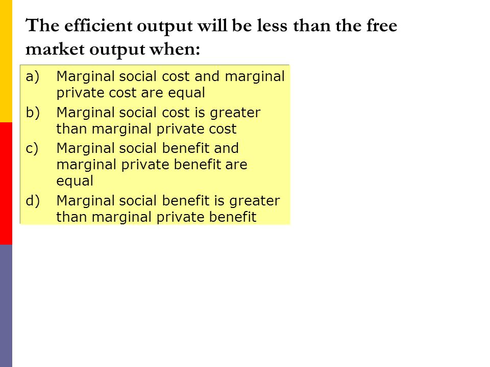 The efficient output will be less than the free market output when:
