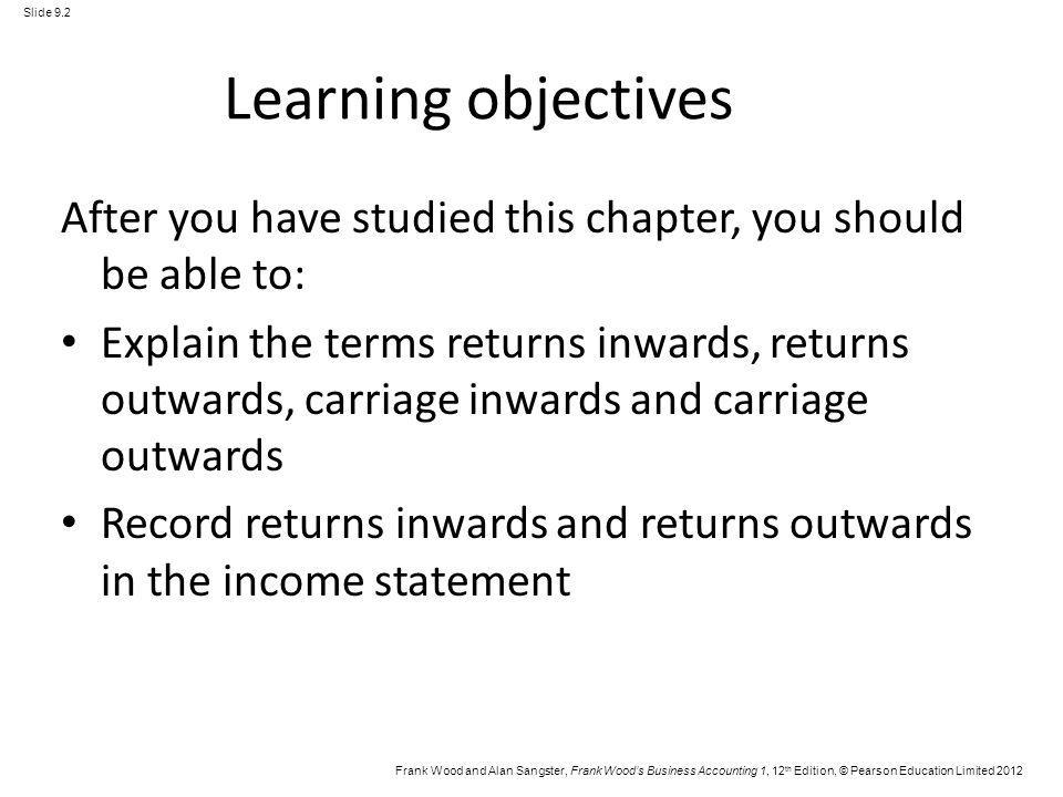 Learning objectives After you have studied this chapter, you should be able to: