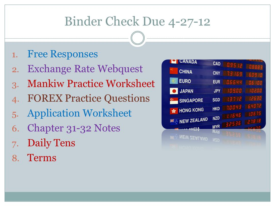 Binder Check Due Free Responses Exchange Rate Webquest