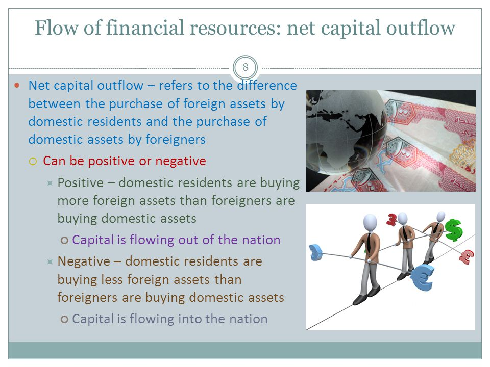 Flow of financial resources: net capital outflow