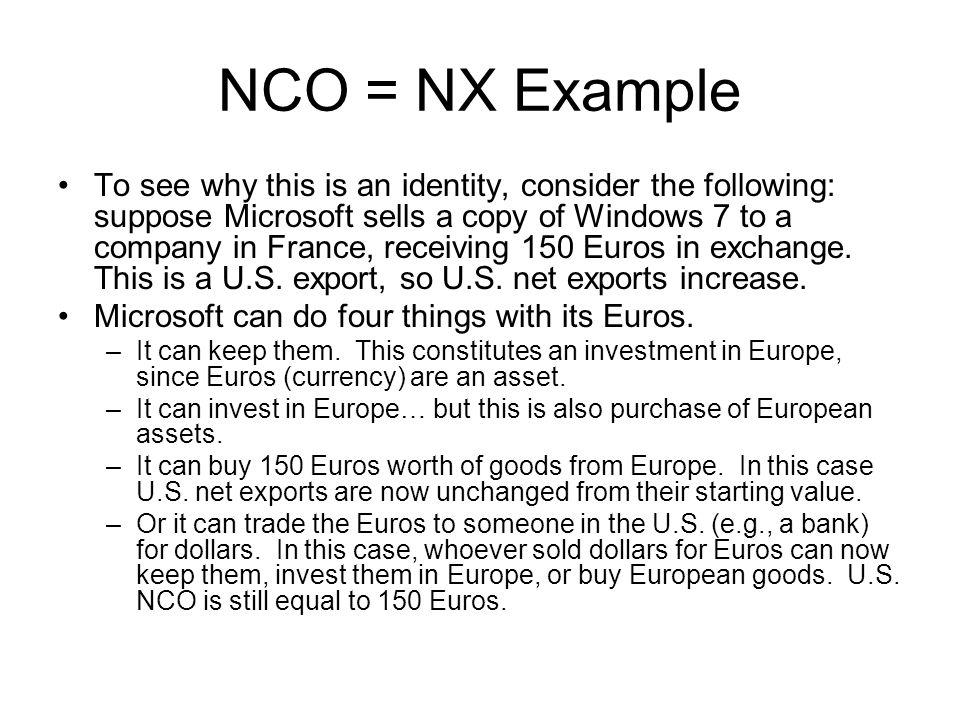 NCO = NX Example