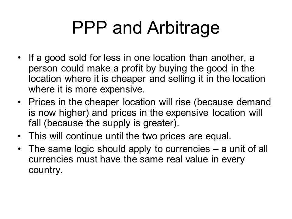 PPP and Arbitrage