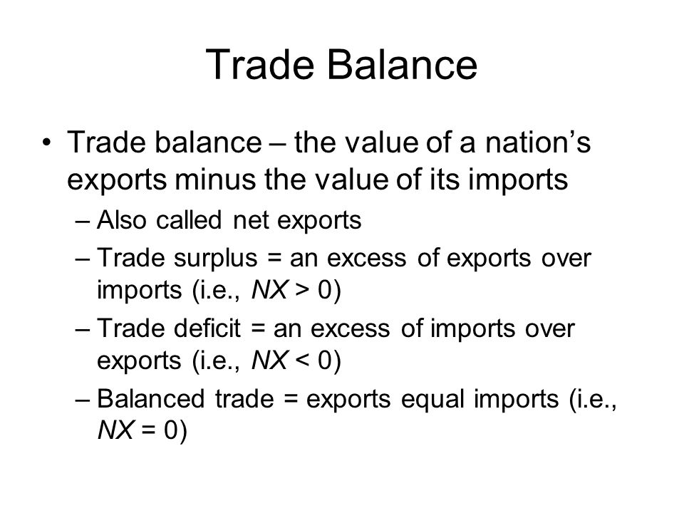 Trade Balance Trade balance – the value of a nation's exports minus the value of its imports. Also called net exports.