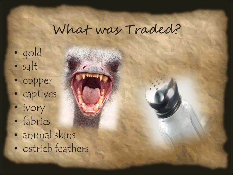 What was Traded gold salt copper captives ivory fabrics animal skins