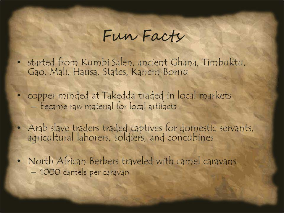 Fun Facts started from Kumbi Salen, ancient Ghana, Timbuktu, Gao, Mali, Hausa, States, Kanem Bornu.
