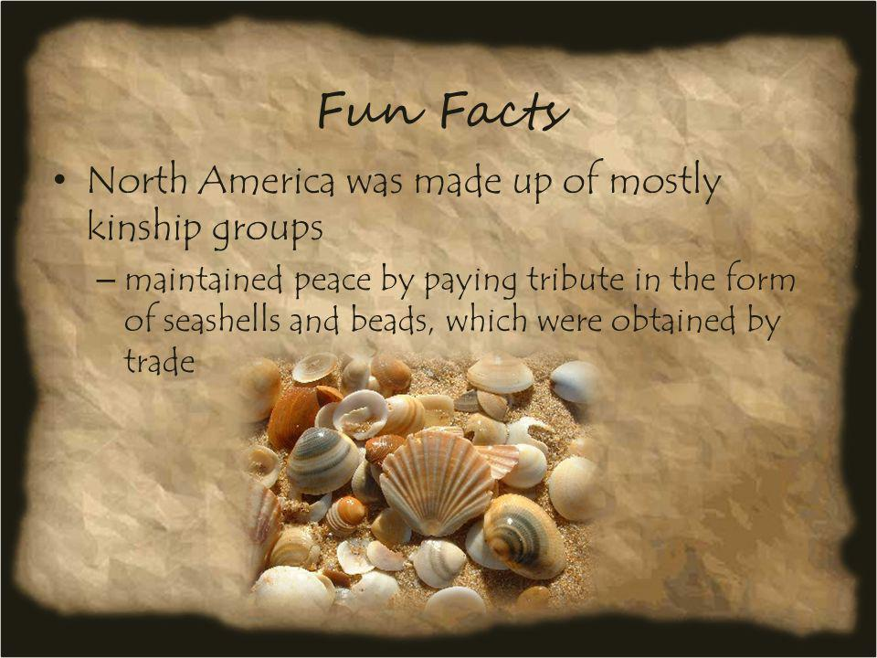 Fun Facts North America was made up of mostly kinship groups