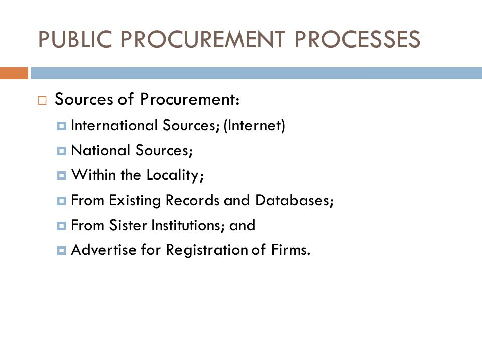 PUBLIC PROCUREMENT PROCESSES
