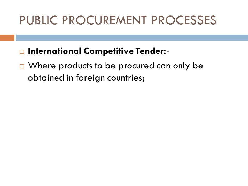 PUBLIC PROCUREMENT PROCESSES