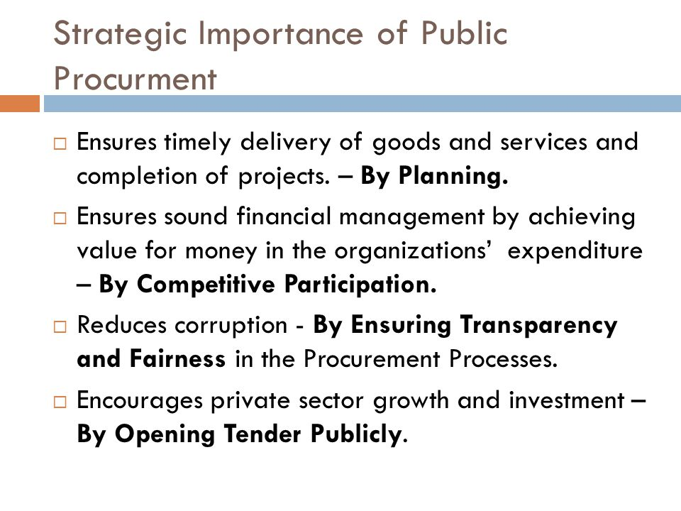 Strategic Importance of Public Procurment