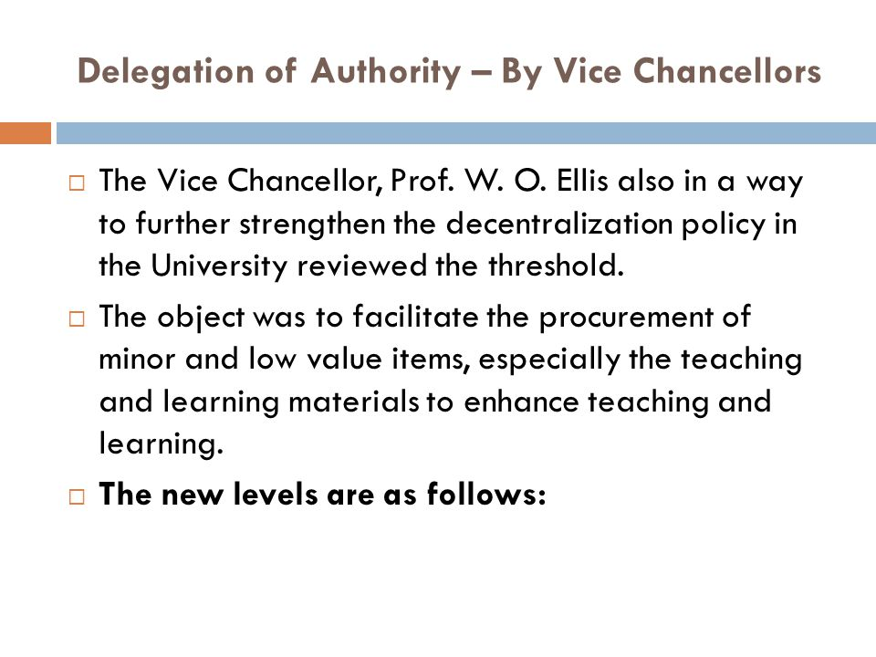 Delegation of Authority – By Vice Chancellors