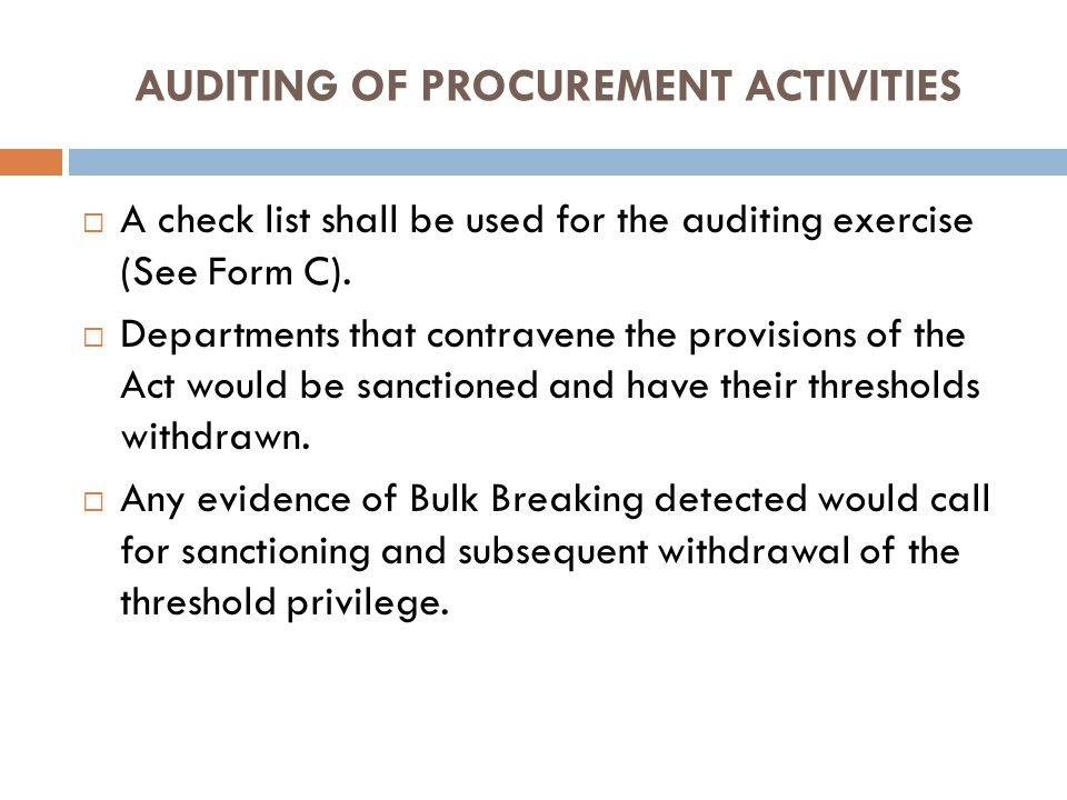 AUDITING OF PROCUREMENT ACTIVITIES