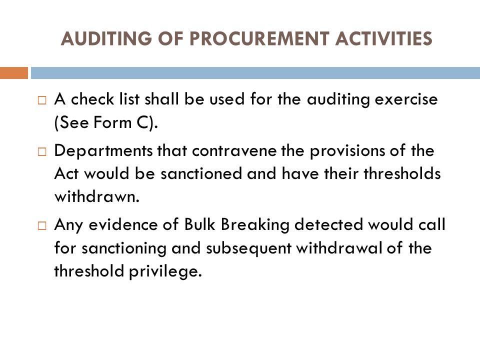 AUDITING OF PROCUREMENT ACTIVITIES