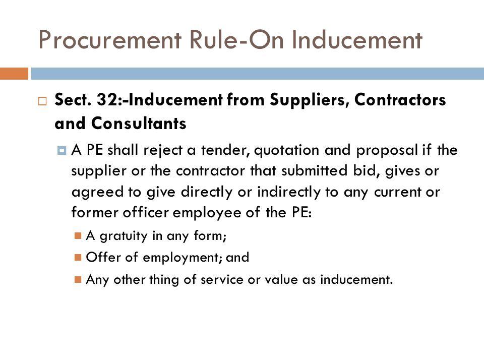 Procurement Rule-On Inducement