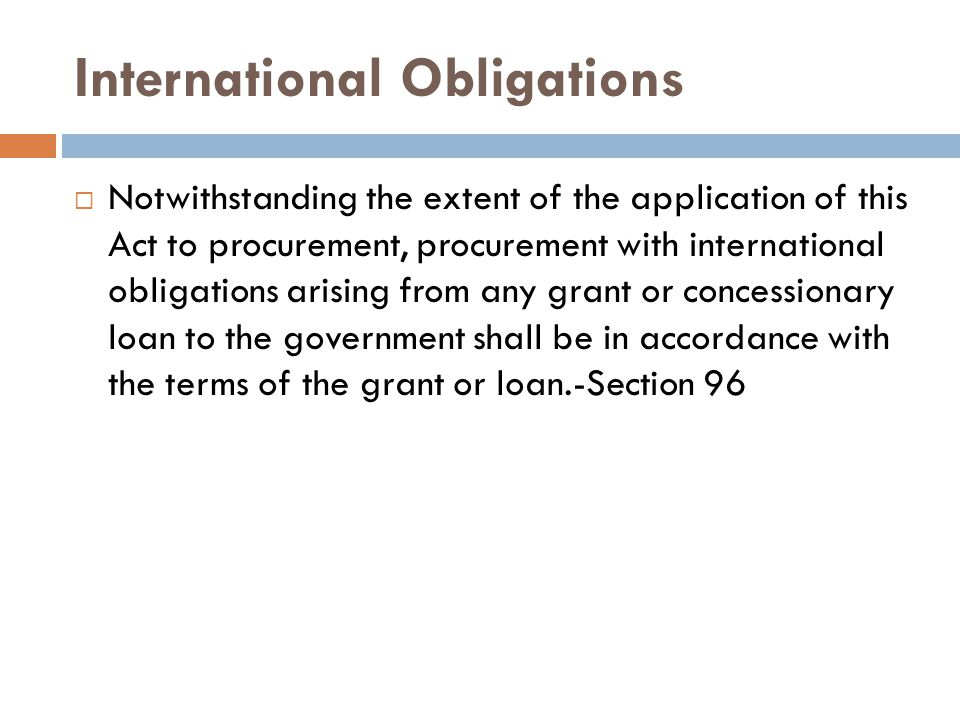 International Obligations