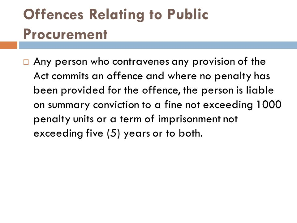 Offences Relating to Public Procurement