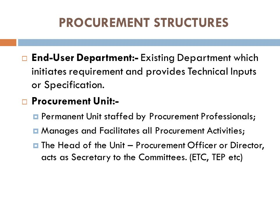 PROCUREMENT STRUCTURES