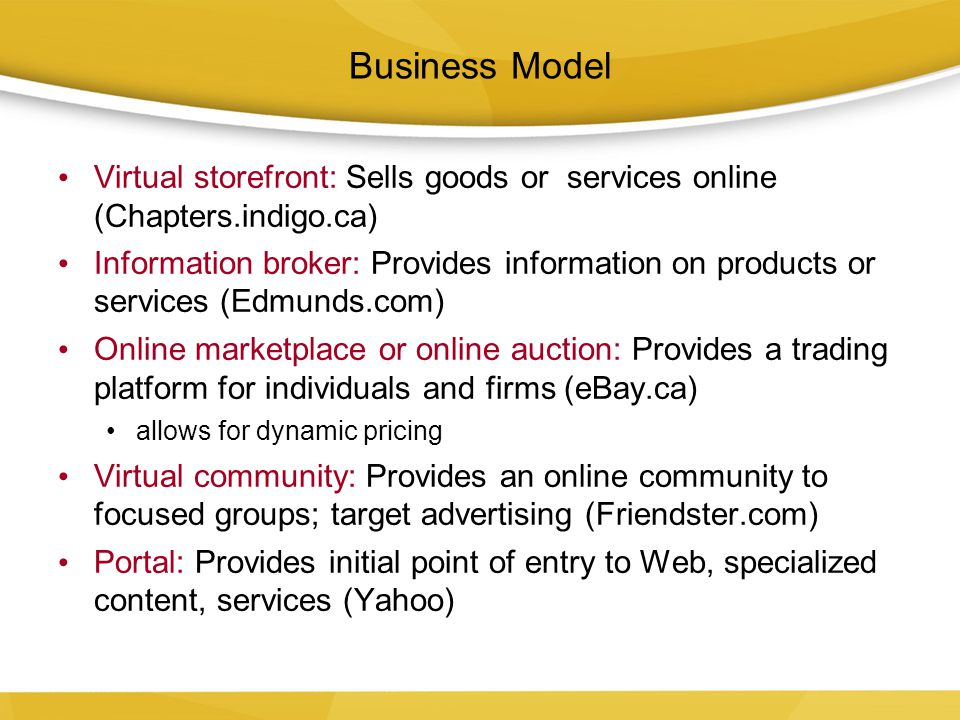 Business Model Virtual storefront: Sells goods or services online (Chapters.indigo.ca)