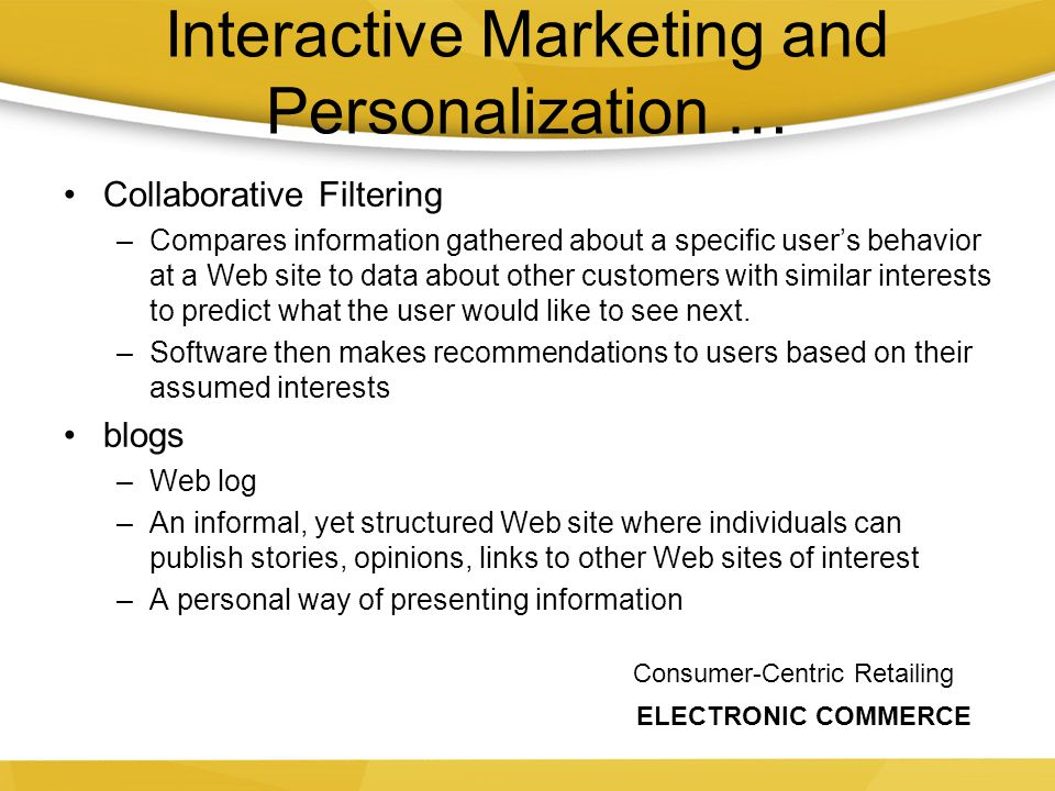 Interactive Marketing and Personalization …