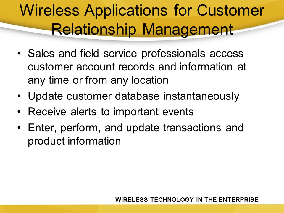 Wireless Applications for Customer Relationship Management