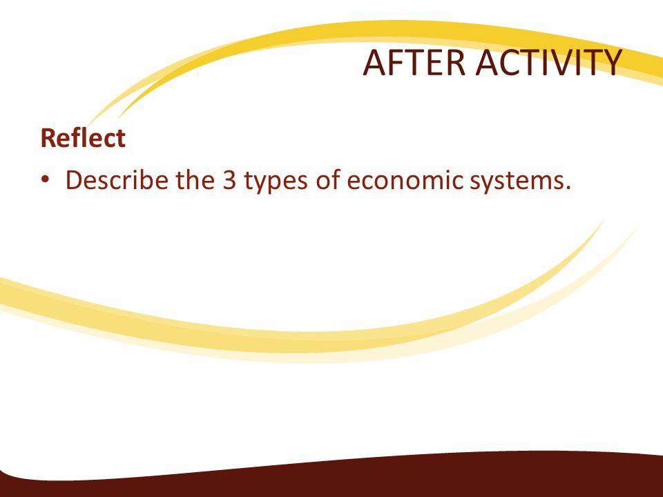 AFTER ACTIVITY Reflect Describe the 3 types of economic systems.