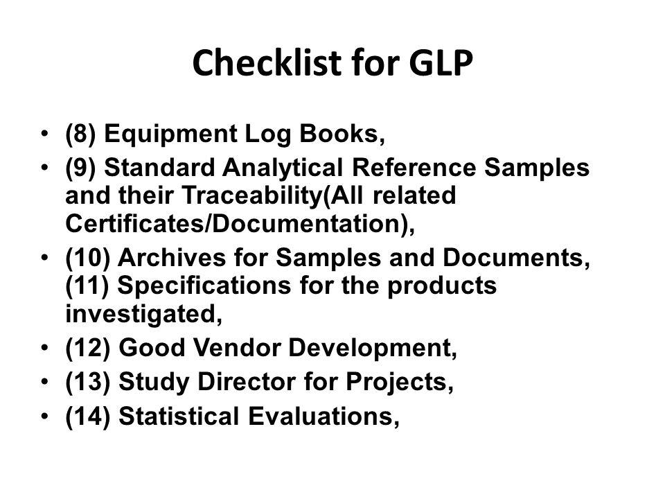 Checklist for GLP (8) Equipment Log Books,