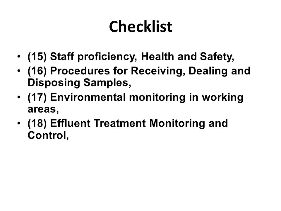Checklist (15) Staff proficiency, Health and Safety,