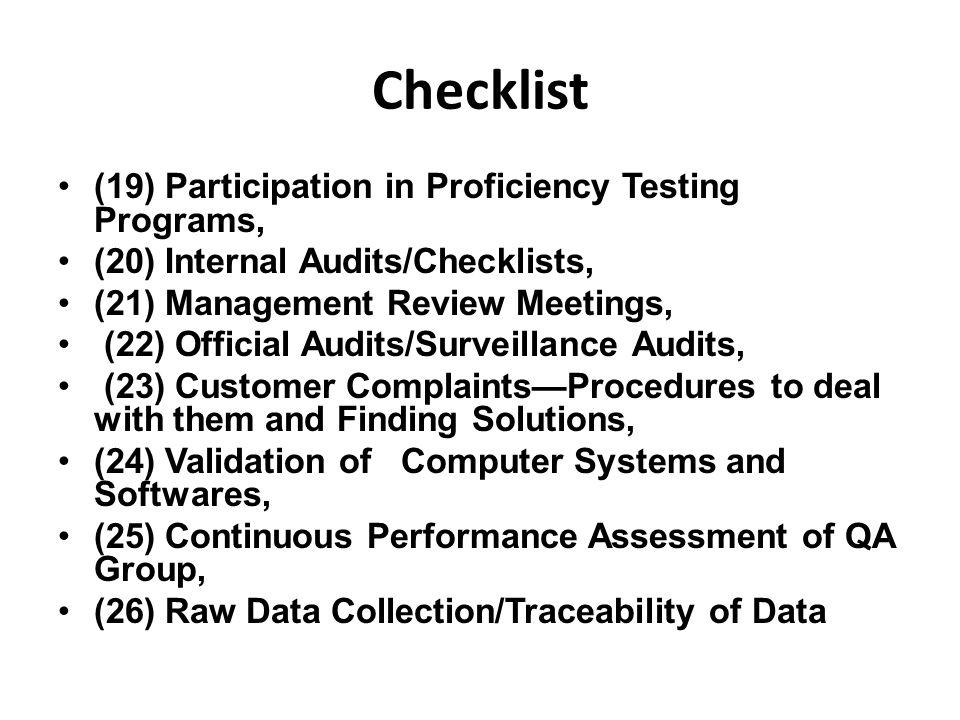 Checklist (19) Participation in Proficiency Testing Programs,