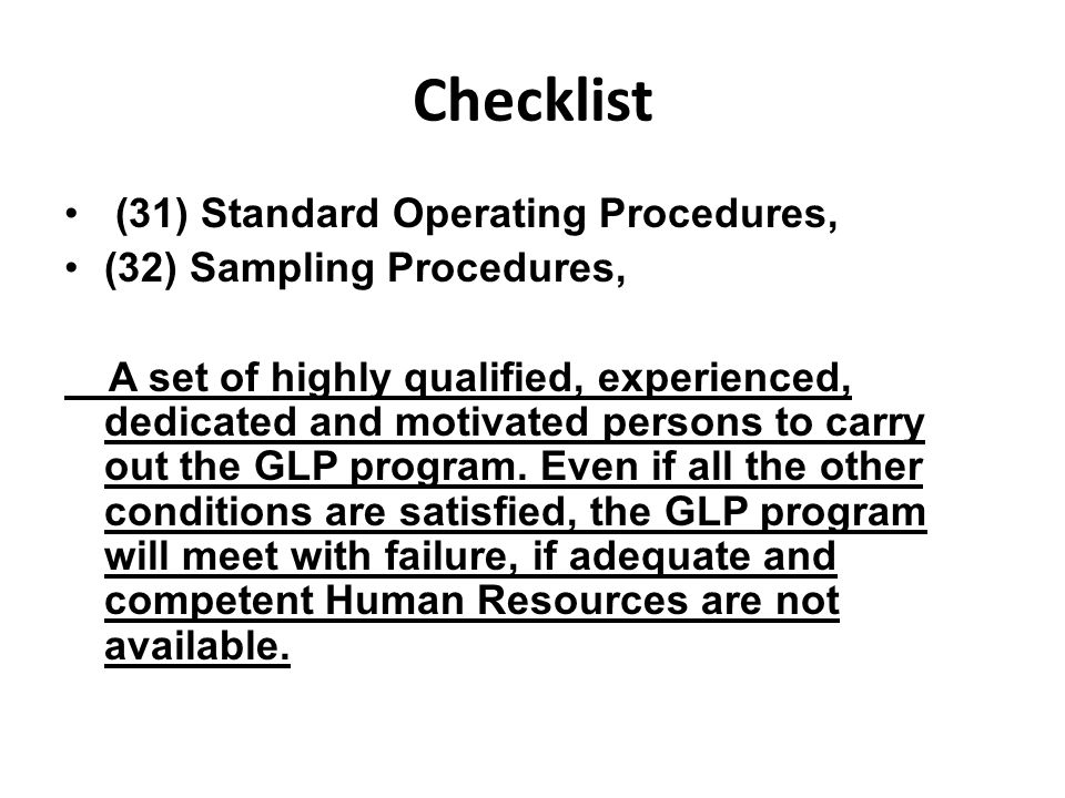 Checklist (31) Standard Operating Procedures,