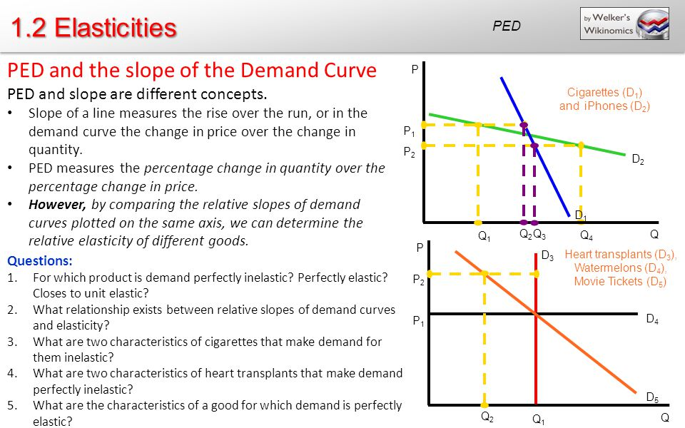 1.2 Elasticities PED and the slope of the Demand Curve