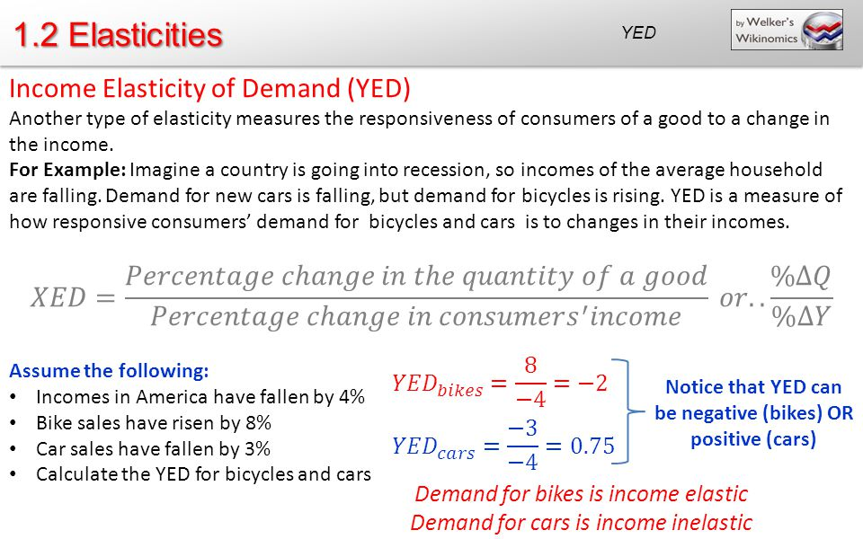 Notice that YED can be negative (bikes) OR positive (cars)
