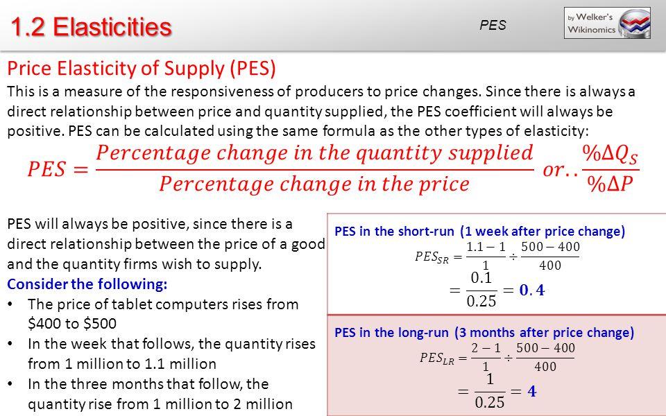 1.2 Elasticities Price Elasticity of Supply (PES)
