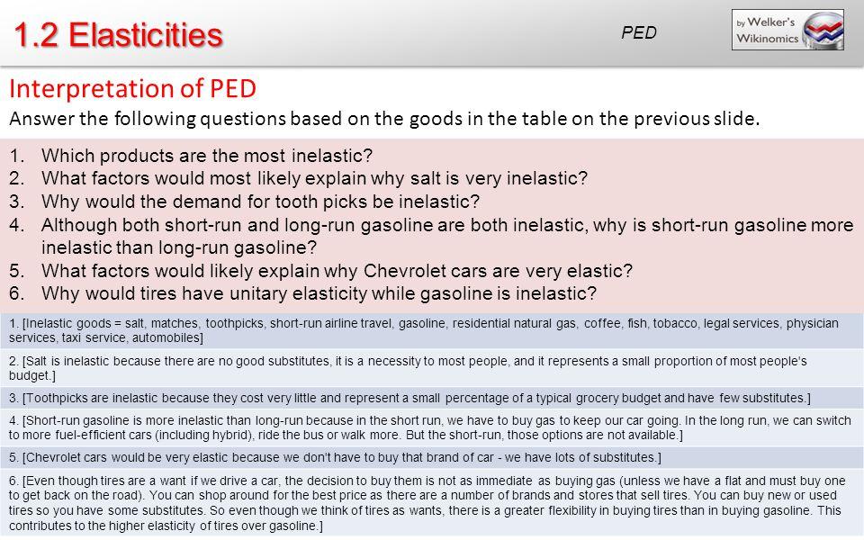 1.2 Elasticities Interpretation of PED