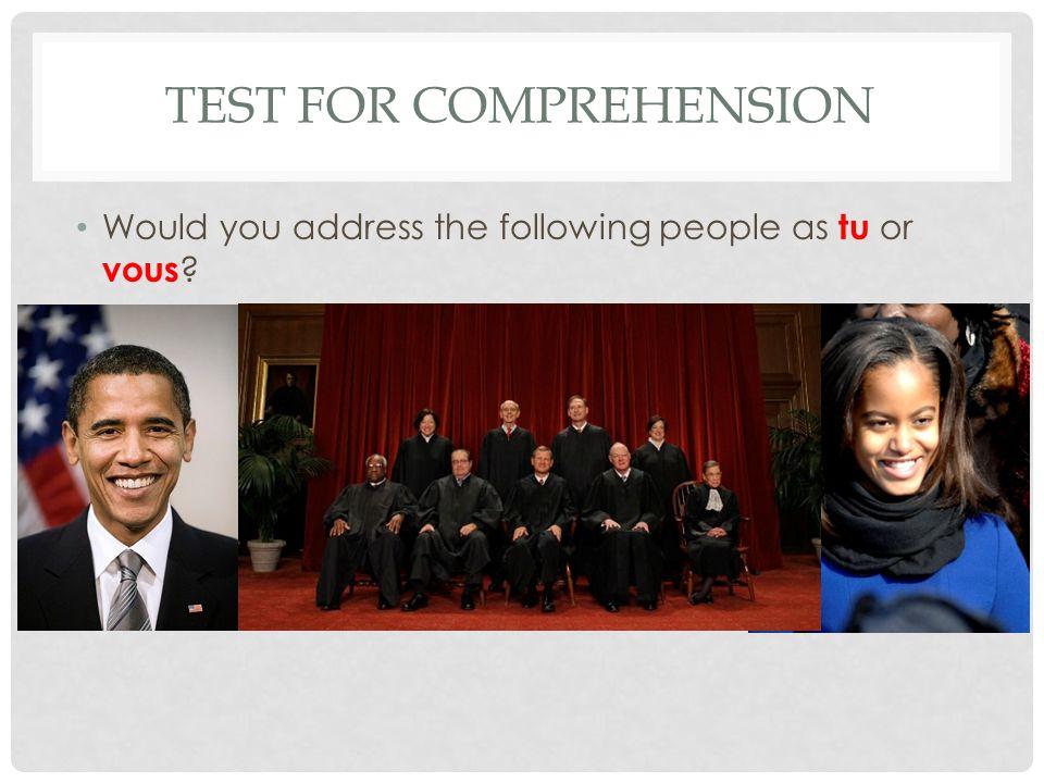 Test for comprehension