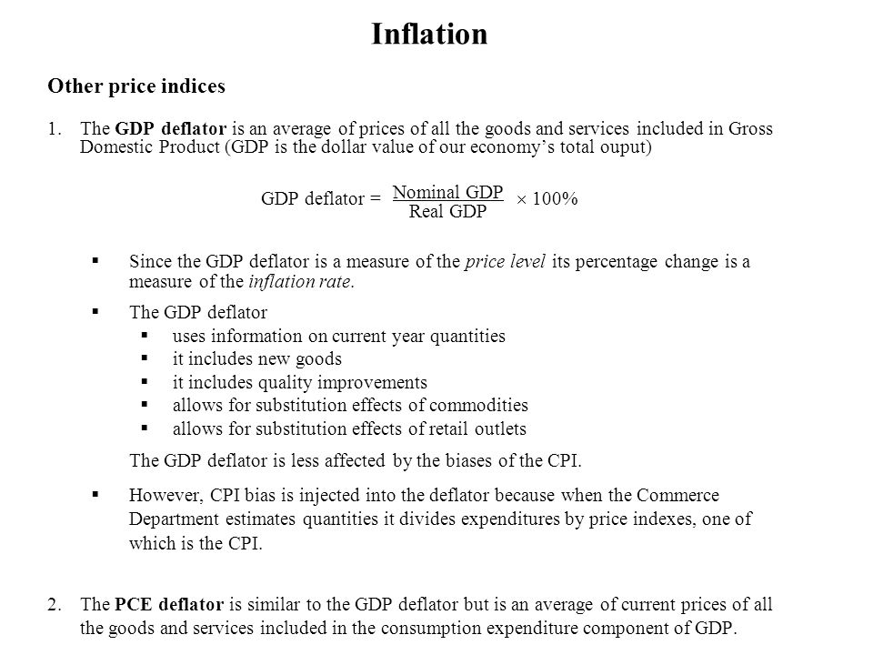 Inflation Other price indices