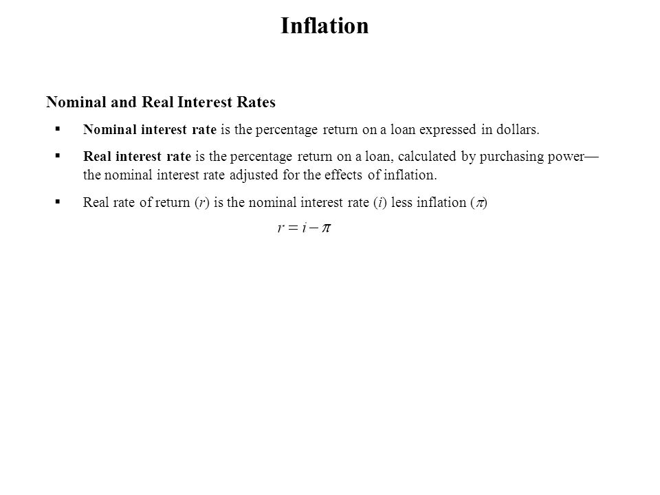 Inflation Nominal and Real Interest Rates