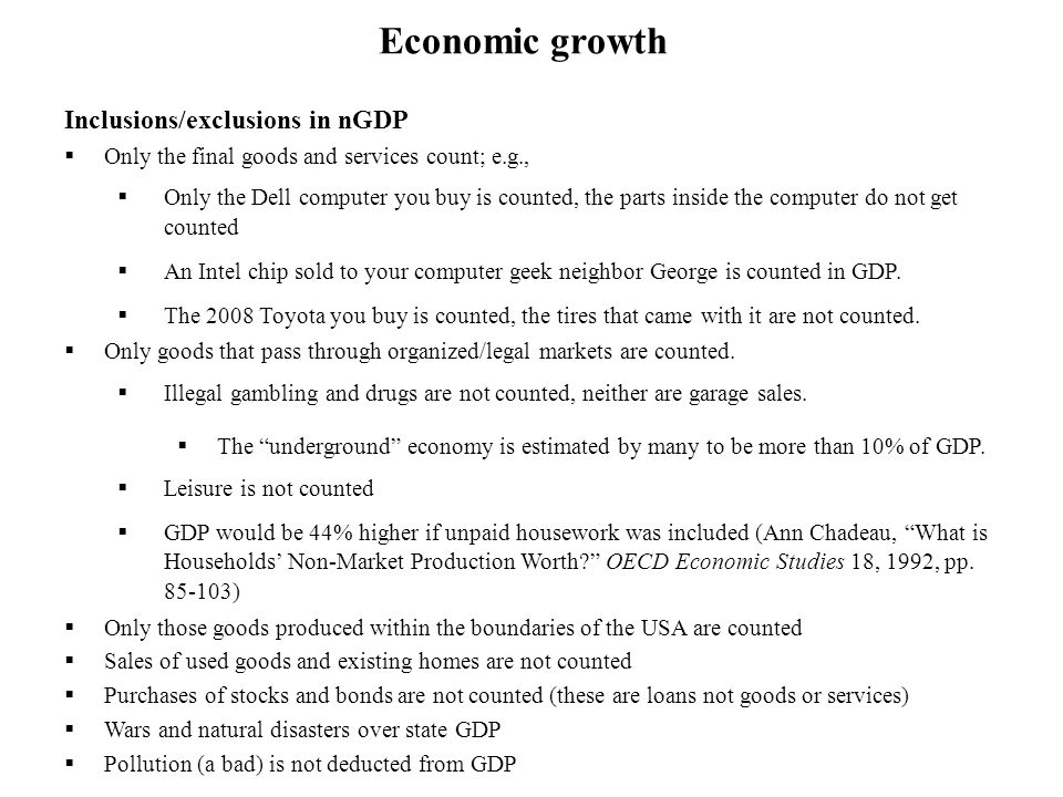 Economic growth Inclusions/exclusions in nGDP