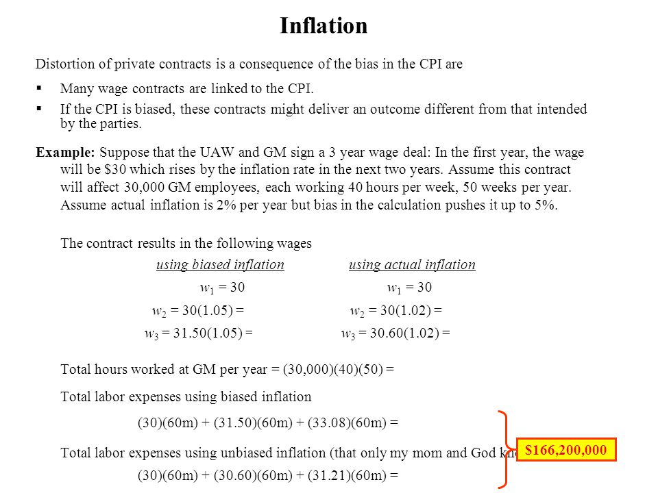 using biased inflation using actual inflation
