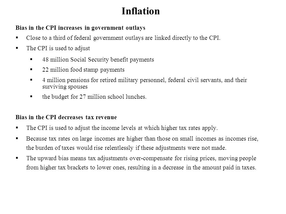 Inflation Bias in the CPI increases in government outlays